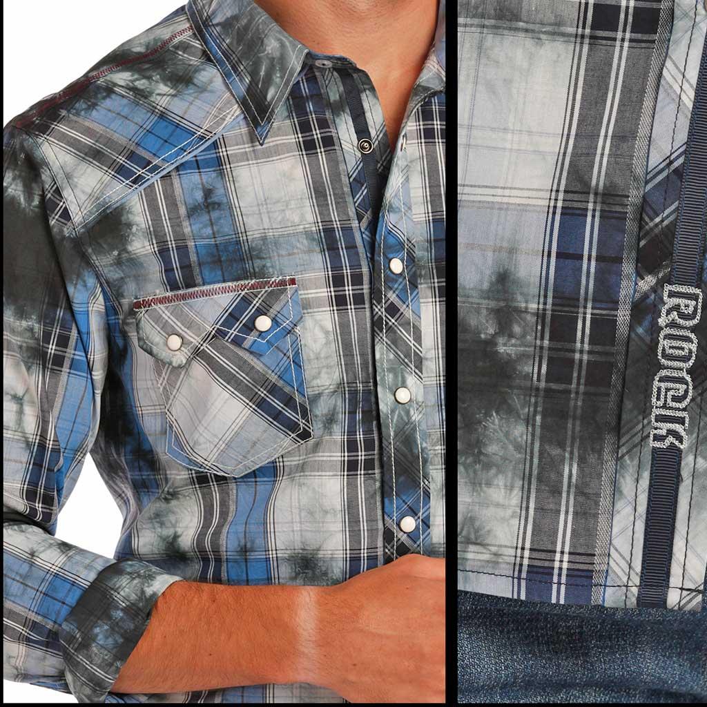 Rock & Roll Cowboy Indigo Spray Westernskjorte